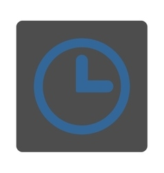 Clock flat cobalt and gray colors rounded button vector