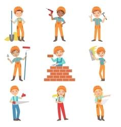 Construction Work And Kids Builders Set vector
