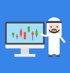 Cute arab businessman presenting candle chart on vector