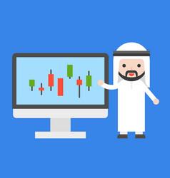 Cute arab businessman presenting candle chart vector