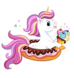 cute cartoon unicorn on donut vector image