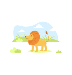 cute lion on african landscape tropical animal in vector image