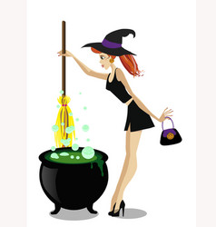 cute young witch with cauldron and broomstick vector image