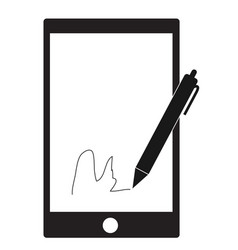 digital signature with stylus pen and mobile vector image