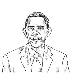 drawing barack obama caricature vector image