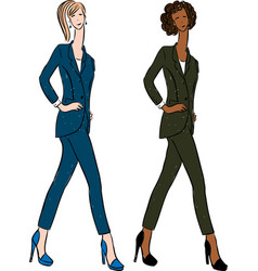 Drawing young business women in classic suits vector