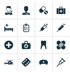 Drug icons set collection of surgical bag mark vector