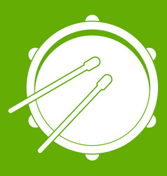 drum icon green vector image