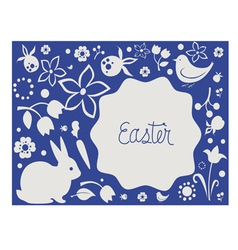 Easter card with floral elements and cute animals vector image