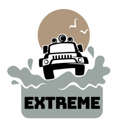 Extreme off road adventure jeep and splashes vector