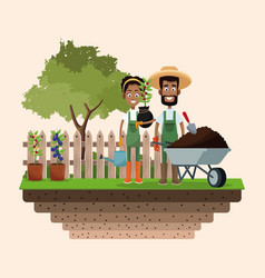 Farmers wheelbarrow water can and plant badge vector
