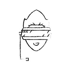 Figure boy face with 3d glasses to dimension vector