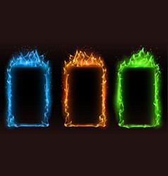 fire frames different colors frame vector image