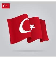 Flat and waving Turkish Flag vector image