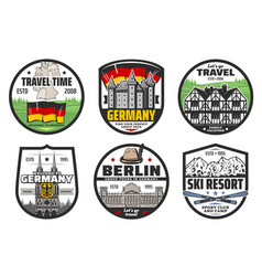 Germany travel and landmark icons vector