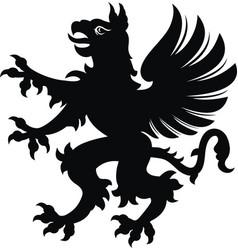 Griffin tattoo blackwhite silhouette vector