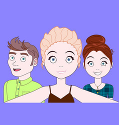 group of young people taking selfie together happy vector image