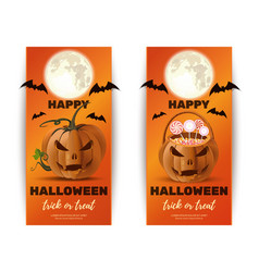 Halloween design collection with basket for sweets vector