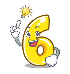 have an idea number six isolated on the mascot vector image