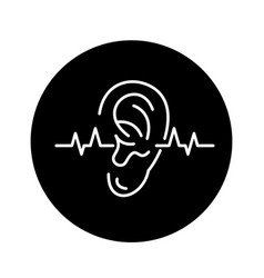 hearing test black icon sign on isolated vector image
