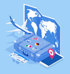 Isometric travel and tourism background buying or vector