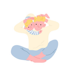 joyful father and son hugging or cuddling isolated vector image