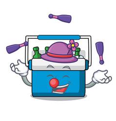 Juggling freezer bag mascot cartoon vector