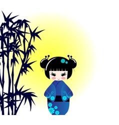 Kokeshi doll and bamboo vector