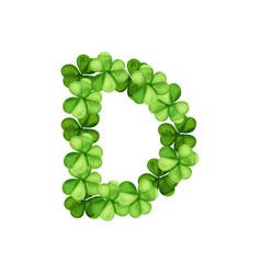 letter d clover ornament vector image