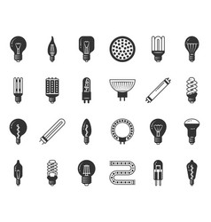 light bulb black silhouette icons set vector image