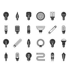 light bulb black silhouette icons set vector image