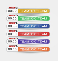 live scoreboard digital screen graphic template vector image