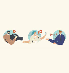 Live stream concept with cameraman woman vector