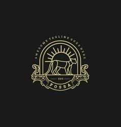 Logo animal endemic in madagascar vintage badge vector