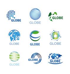 logos globe global vector image
