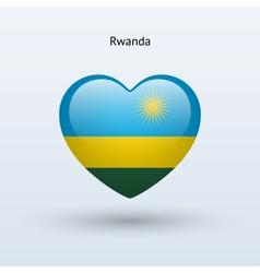 Love Rwanda symbol Heart flag icon vector