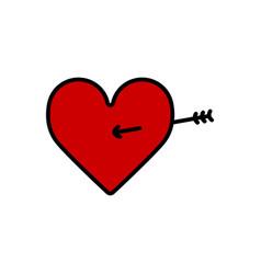 Lovestruck or arrow through heart flat icon vector