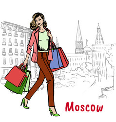 man with shopping bags in moscow vector image