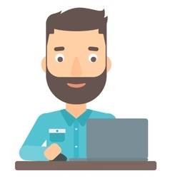 Man working at laptop vector image