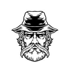 marijuana farmer with weed mustache silhouette vector image