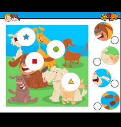 Match pieces puzzle with dogs characters vector
