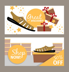 Men summer shoe store flyer vector