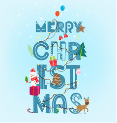 Merry christmas inscription with garland artistic vector