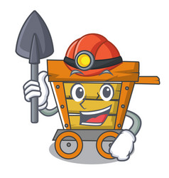 miner wooden trolley mascot cartoon vector image