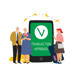 Mobile transaction approved vector