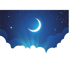 Night with moon and stars - placard vector