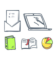 office paper and laptop book icons set vector image