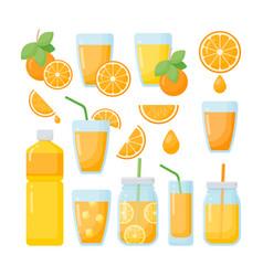 orange juice flat icons set vector image