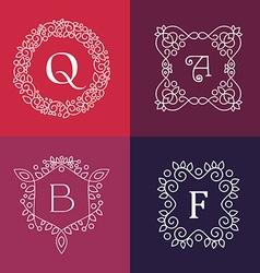 ornament monogram mono line floral frame set vector image