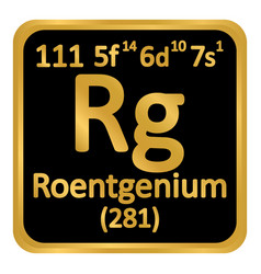 periodic table element roentgenium icon vector image